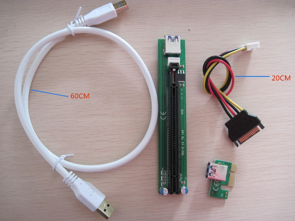 50PCS New PCI PCI-E Express1X to 16X riser extender cable with USB3.0 data transmission line SATA power supply cable for BTC