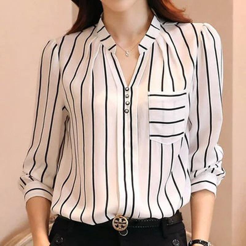 Mujeres Blusa Rayada Coreana Blusa Camisas Mujer de Manga