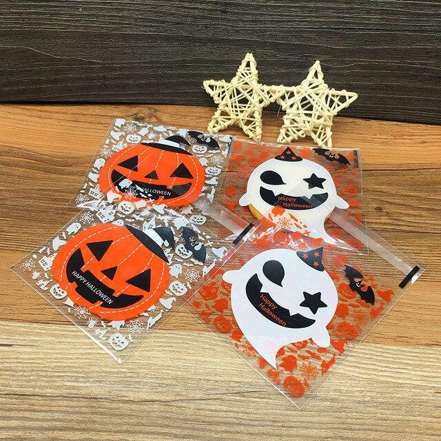 100 pcs Halloween Bonito Doces sacos de plástico saco de embalagem de Cookies Sobremesa Abóbora Fantasma decoração Do Partido doce pequenos presentes 5DCY1020