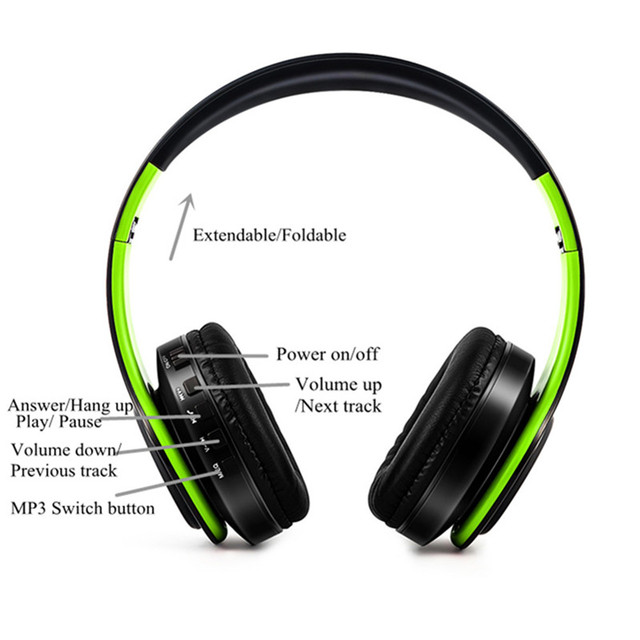 New Portable Wireless Headphones Bluetooth Earphone /Headset Foldable Stereo Audio Mp3 Adjustable Earphones with Mic for Music 2
