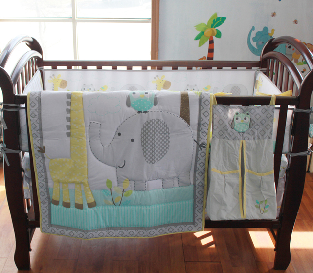 8 Pc Crib Infant Room Kids Baby Bedroom Set Nursery Bedding Blue Grey Elephant Cot