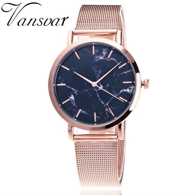 Vansvar Brand Fashion Silver And Gold Mesh Band Creative Marble Wrist Watch Casu