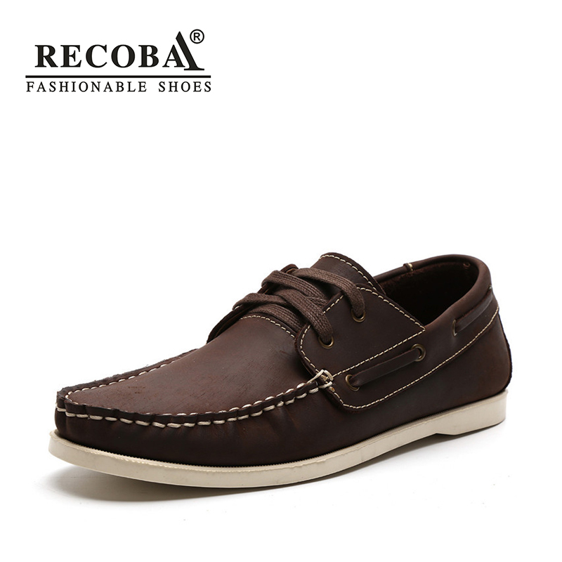цена на Men shoes casual summer genuine leather brown boat shoes men big size 45 flat slip on loafers male boat shoes dockside shoes
