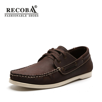 Men shoes casual summer genuine leather brown boat shoes men big size 45  flat slip on loafers male boat shoes dockside shoes slip-on shoe