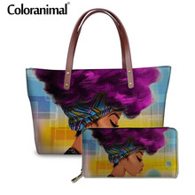 Coloranimal Beautiful  Ladies Women Set Handbag Shopper Bag Leather Long Wallet Sac a Main Black Art African Girl Print Tote