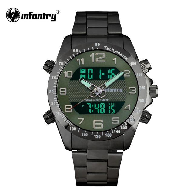INFANTERÍA Hombres Relojes LCD Digital de Cuarzo Militar Del Ejército Relojes Masculinos Cara Grande Verde Del Ejército Top Marca de Acero Completo Relogio masculino