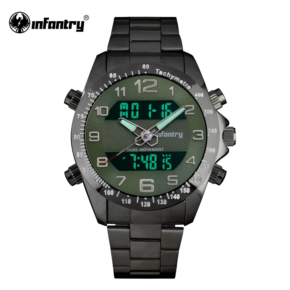 Infantry mens watches lcd digital quartz military army male watches big face full steel army for Watches digital