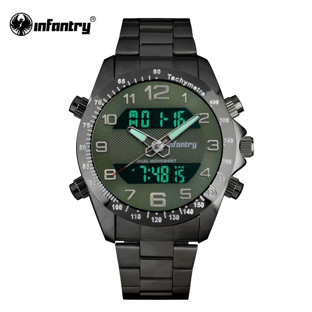 INFANTRY Mens Watches LCD Digital Quartz Military Army Male Watches Big Face Full Steel Army Green Top Brand Relogio Masculino