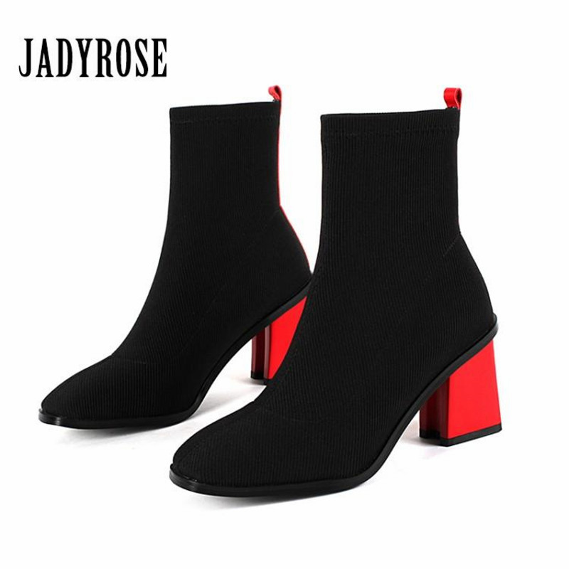 Jady Rose Sexy Red Women Stretch Sock Boots Ladies Ankle Boots 7CM Chunky High Heel Shoes Woman Botas Mujer Women Pumps jady rose fashion camouflage ankle boots for women lace up hollow out high boots chunky high heel botas mujer women pumps