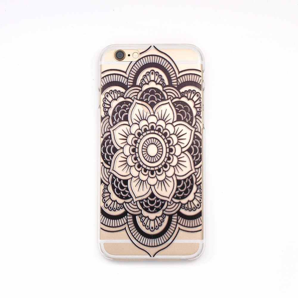 Bloem Mandala Henna Datura Tpu Transparant Geschilderde Zachte Telefoon Case voor Iphone X 5 5 s 6 6 s Plus 7 8 Plus Bloemen Paisley Cover