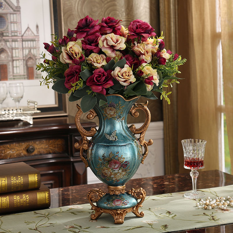 European Luxury Palace Resin Vase Ornament Home Desktop Figurines Crafts Decoration Wedding Gift American Retro Silk Flower Pot