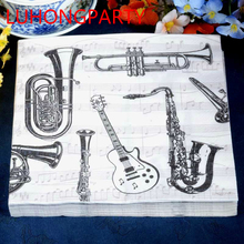 2 packs FOOD GRADE Abstract Napkin Paper 100% Virgin Wood Fashion musical instrument Tissue for Party Decoration  цена и фото