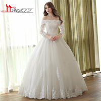 Gorgeous Lace Beading Ball Gown Wedding Dresses 2016 Off The Shoulder Bateau Neck Long Sleeves Plus