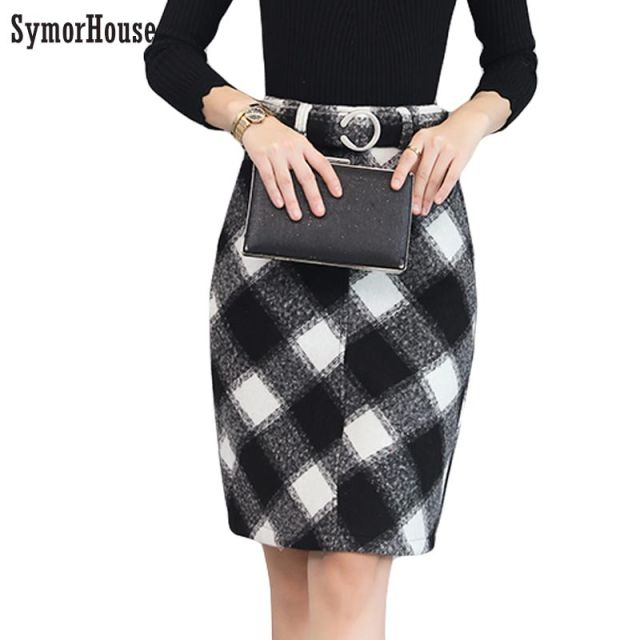 58fcd4eb09 New Korean Plaid knee-length Skirt Wool High Waist Ladies Work Skirts Slim  Women Winter thick Pencil Skirts Free Shipping 2018