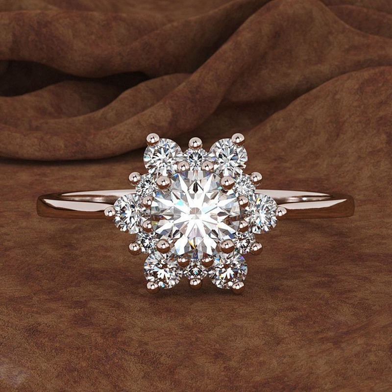 Fashion Jewelry Gold Silver Color Snowflake Ring With White Crystal Romantic Snow Flower Floral Finger Rings