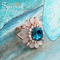 Special Fashion Europäischen Stil Ringe Rose Gold Engagement Blume Ring Blaue AAA Zirkonia Ring Schmuck Geschenke für Frauen JZ150103
