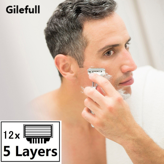 12pcs/lot 5 Layer Blades Shaving Razor Blades For Men Gilett Fusion Power Shaver Blades Gilletts Proglide Shaving Blades