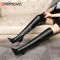 Smirnova NEW fashion thigh boots 2018 pu +genuine leather over the knee boots sexy super high heels pointed toe woman long boots