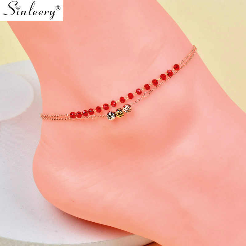 SINLEERY Sexy Red Crystal Chain Rolling Metal Beads 2 Layers Anklets Bracelet Ankle Chain For Women Fashion Jewelry JL010 SSD