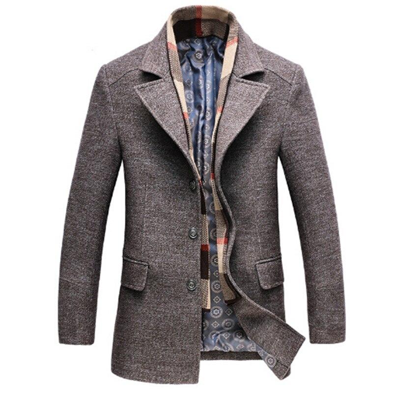 2017 clothing mens 50% wool long windbreak jacket new fashion trench coat Classic wool knee length warm winter long mens