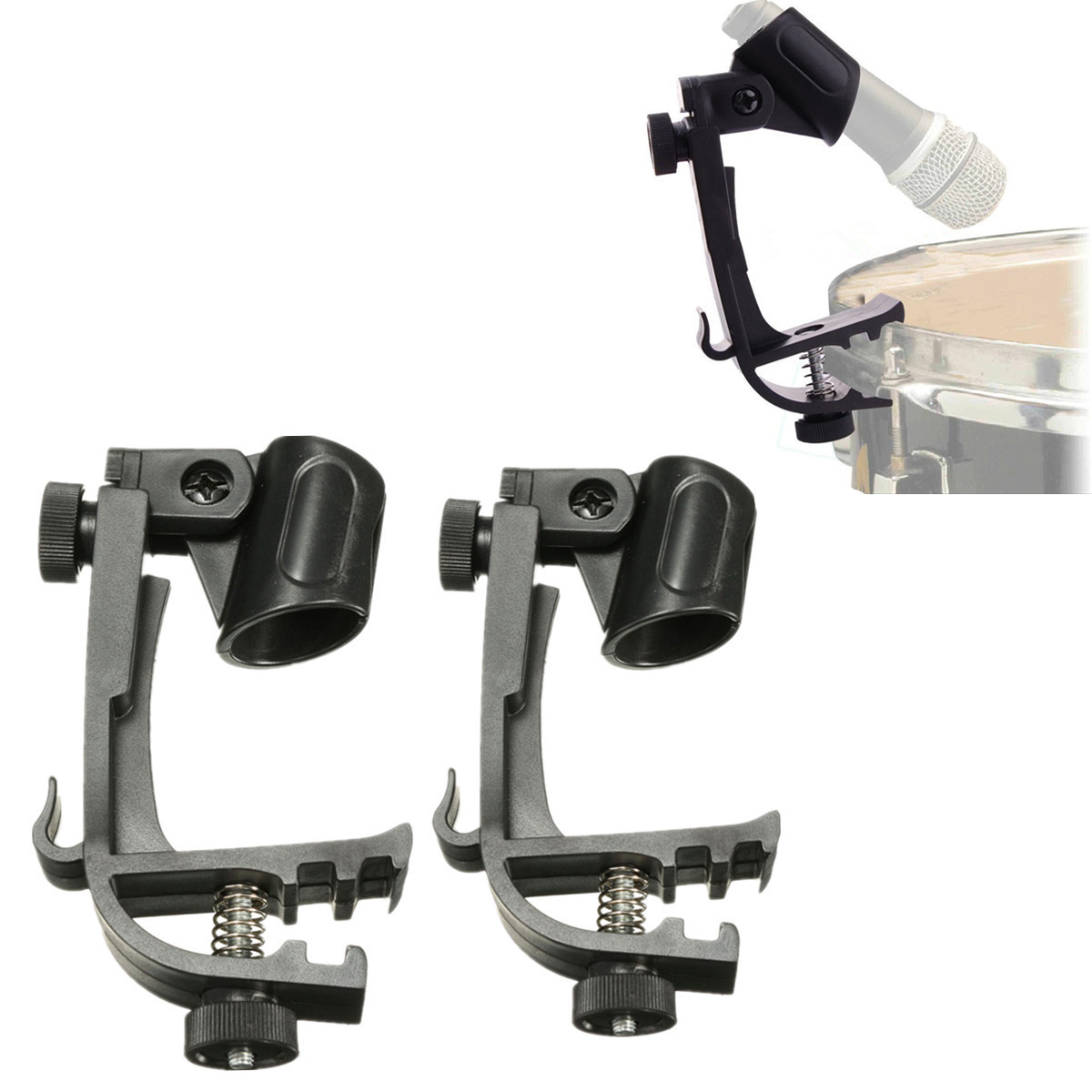 Zebra 2 pcs/Lot Plastic+Metal Microphone Adjustable Stage Drum Clips Mic Rim Snare Mount Clamp Holder Groove Gear Studio Stand
