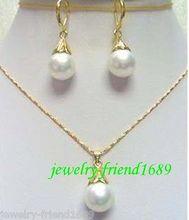 Prett wholesale choker jewelry sets for women anime Wedding Shell Pearl pendant earrings set AAA Plated gold Bridal wide