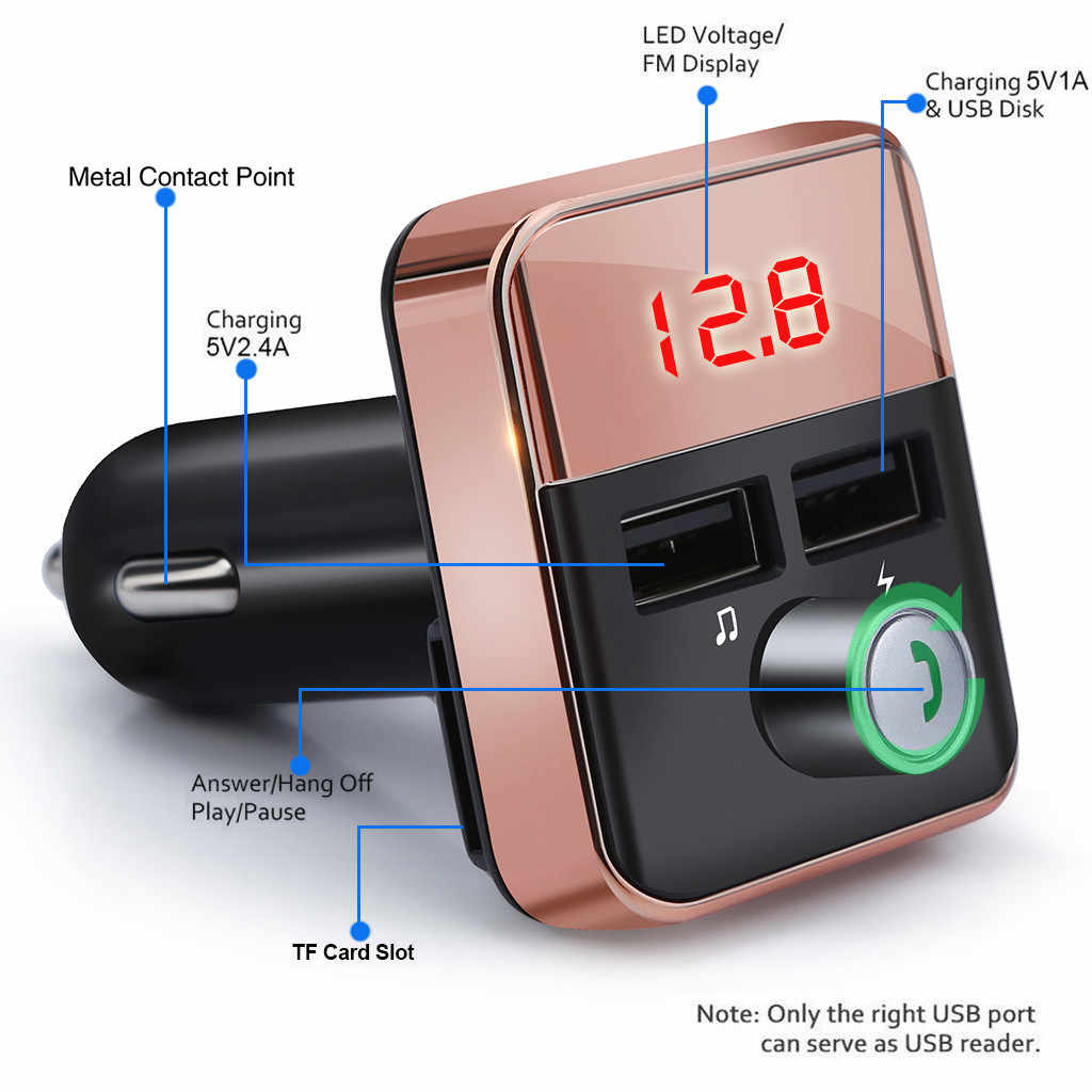 1PC 2.1A FM Transmitter Bluetooth Car FM Transmitter Wireless Radio Adapter USB Charger Mp3 Player Auto  Car-Styling