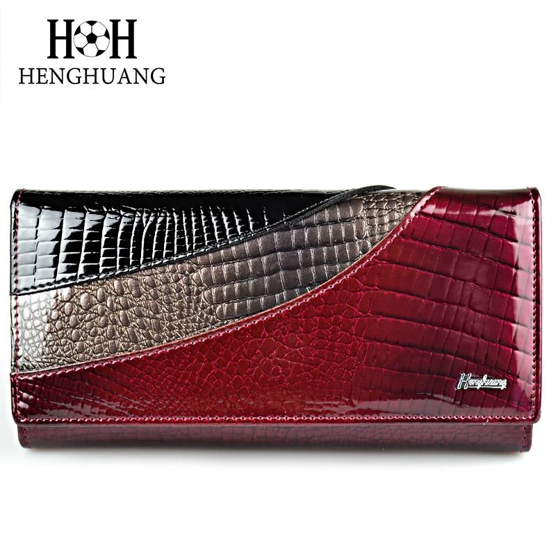 HH lujo de cuero genuino mujeres carteras Alligator Clutch Pruses - Monederos y carteras - foto 1
