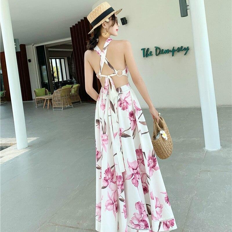 2019 robe pour femme nouvelle mode D'été Élégant Mince décontracté Beach Party Piste Sexy Dos Nu Imprimer Fleur Halter Longue robe maxi