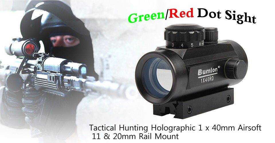 Tactical Hunting Holographic 1 x 40mm Airsoft Cross Hari Red Green Dot Sight Rifle Scope 11 & 20mm Rail Mount