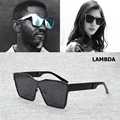 2017 New Fashion Men Cool Metal Square Shape Style LAMBDA Sunglasses Brand Design Sun Glasses Oculos De Sol Masculino 58018