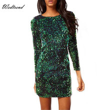 Wedtrend Sequined Sparkling Bodycon Women Dresses With Three Quarter Slim Sheath Sexy Women Clothings Pencil Style Women Dresses