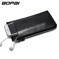 BOPAI Leather Wallets Black Thin Card Holder Wallet Zipper Genuine Leather Men Clutch Bags Multifunctional Mobile