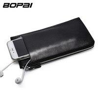 BOPAI Leather Wallets Black Thin Card Holder Wallet Zipper Genuine Leather Men Clutch Bags Multifunctional Mobile