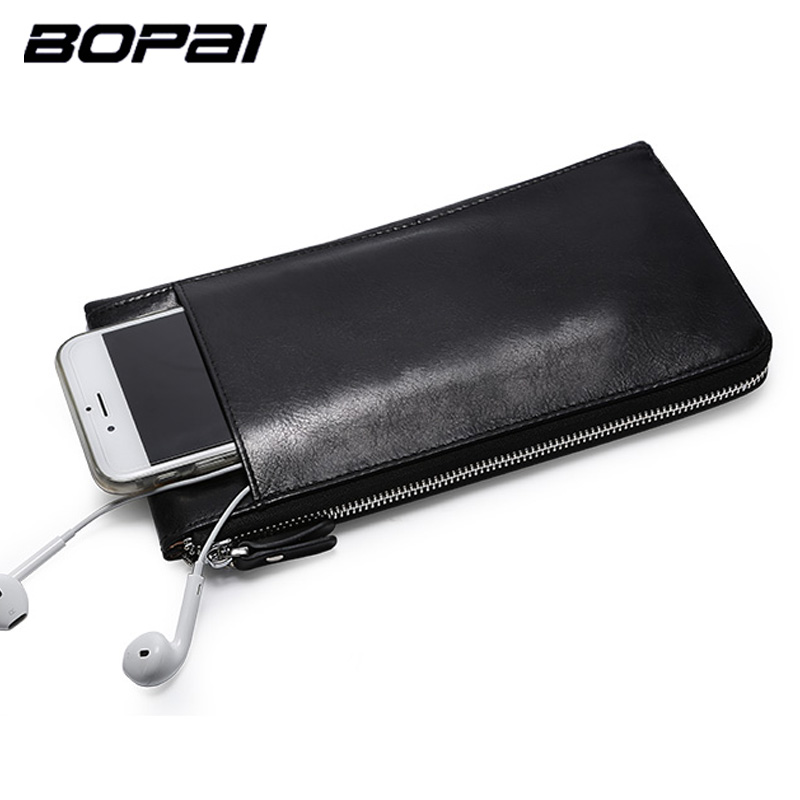 BOPAI Leather Wallets Black Thin Card Holder Wallet Zipper Genuine Leather Men Clutch Bags Multifunctional Mobile Wallet Case genuine leather thin leather wallets for