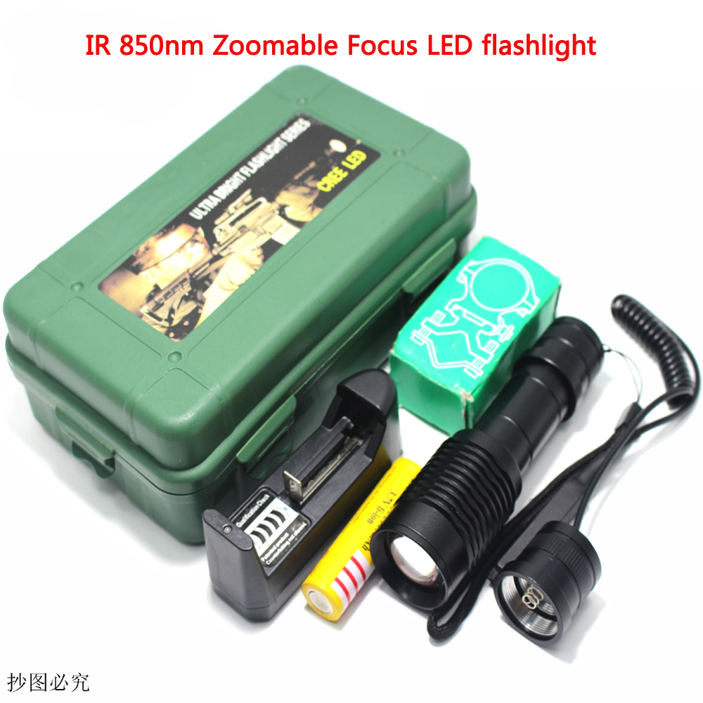 IR <font><b>850nm</b></font> 5w Zoomable Focus <font><b>LED</b></font> Infrared Radiation IR Lamp Night Vision Flashlight Torch Night Vision Infrared Zoom <font><b>LED</b></font> Torch