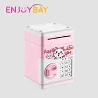 Enjoybay Kids Cartoon Piggy Bank Toy Cute Cash Coins ATM Password Saving Money Box Toys Mini Deposit Machine Chewing Coin Toys
