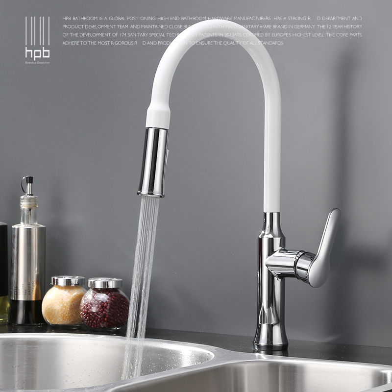 Contemporary Chrome Finish Brass Pull Out Sprayer Single Handle Swivel Spout Vessel Sink Kitchen Faucet Deck Mount Mixer Tap