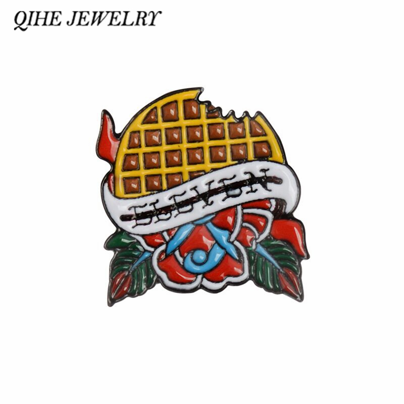 QIHE JEWELRY Elevenu0027s Waffle Stranger Things Enamel Pins Lapel Pins Badges  Brooches For Men Women Cloth