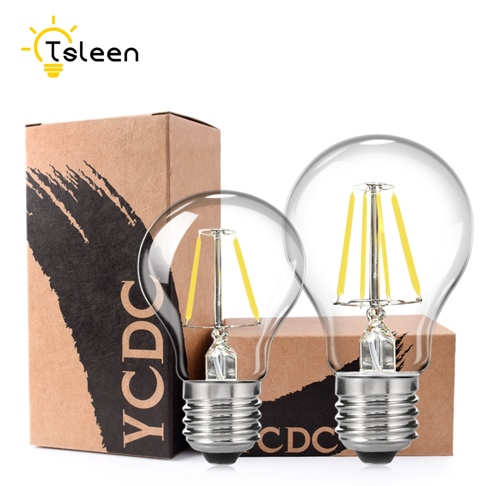 TSLEEN Dimmer Retro Dimmable LED Filament Light lamp E27 E26 110V 220V 8W 16W G45 A60 Clear Glass shell vintage edison led bulb retro led filament light led bulb e27 e26 dimmable 2w 4w 6w 8w 110v 220v a60 clear glass vintage edison lamp warm pure white