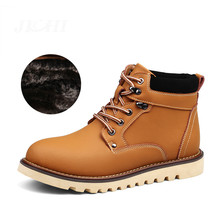 2018 Men's Leather Boots With Warm Fur Winter/Autumn Men Ankle Boots Men's Snow Boots Shoes Work  Footwear Big Size 38-46