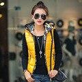 Корейский Случайные Новый Жилет Верхняя Одежда Женщин С Капюшоном Камуфляж Печати Шаблоны Модные Тонкие Женщины Жилет Куртка Плюс Размер