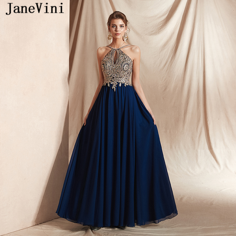 JaneVini Elegant Navy Blue Long Chiffon   Prom     Dresses   2019 A Line Halter Gold Lace Appliques Beaded Backless Evening Party Gowns