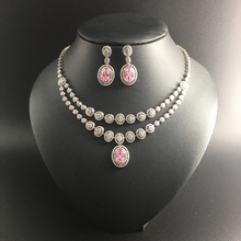 2016 NEW fashion pop duble layer pink water drop zircon golden necklace earring set,wedding bride banquet dress dinner jewelry