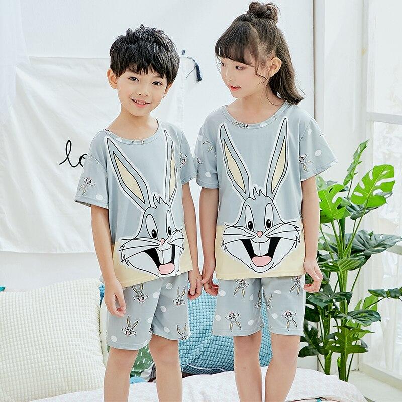 Été enfants pyjamas courts ensembles 2019 mignon maison vêtements de nuit filles courtes enfants Pijamas garçon haut court et pantalon imprimer enfants pyjamas