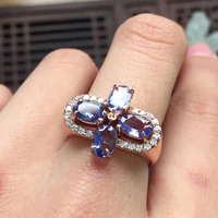 Girls Gift Wife Birthday Present Real 925 Sterling Silver Natural Tanzanite And Tourmaline Women Fine Jewelry