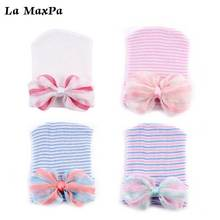 1pcs Newborn Baby Girl Boy Hat Cotton Beanie With Multicolor Bow Infant Soft Knitted Bowtie Caps Toddler Bowknot