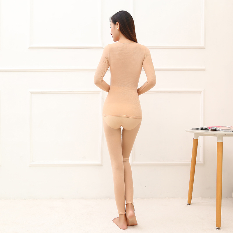 Queenral Thermal Underwear Men Women Long Johns Women Winter Ultra Thin Seamless Shape Slimming Thermal Underwear Male Female 555