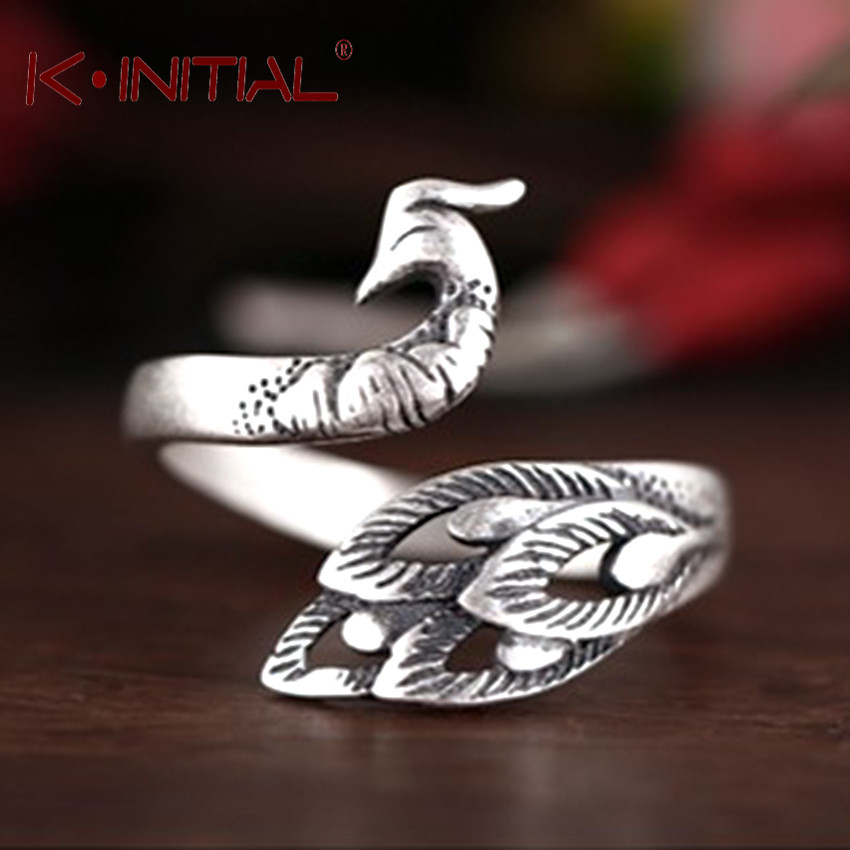 Kinitial Retro Leaf Jewelry Beautiful Animal Cock Rings Peacock Stretch Midi Finger Ring Bijoux For Women Anti Allergy Gift image