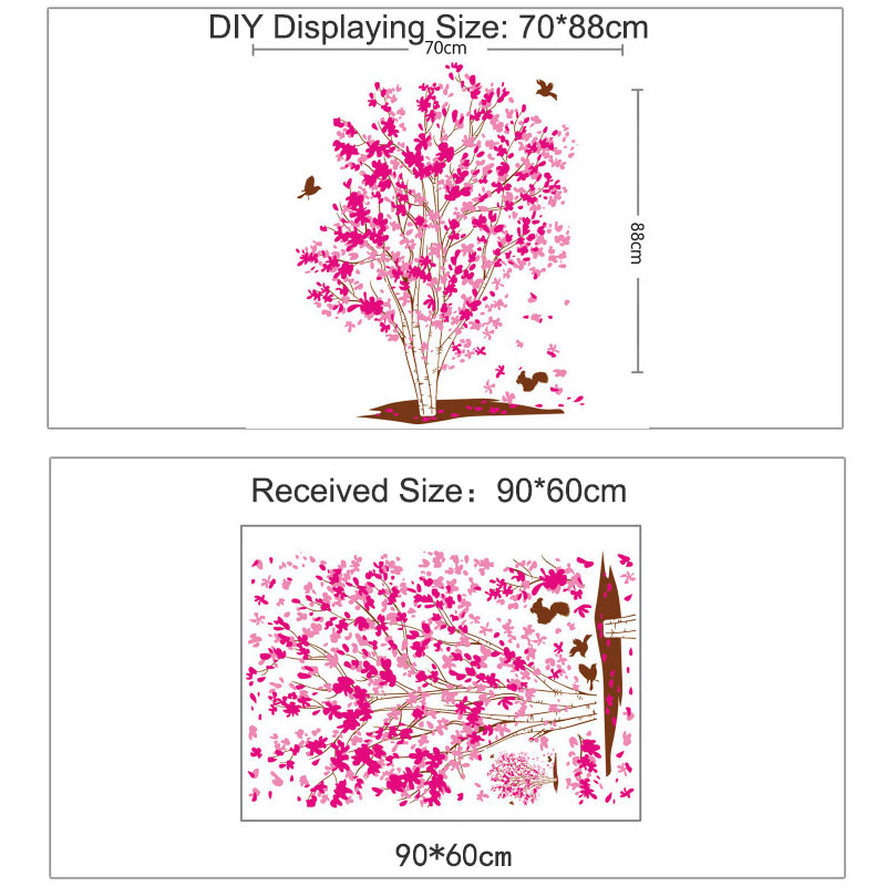 Very Large Pink Tree Wall Sticker Pink Leaves Pink Flower  Birds